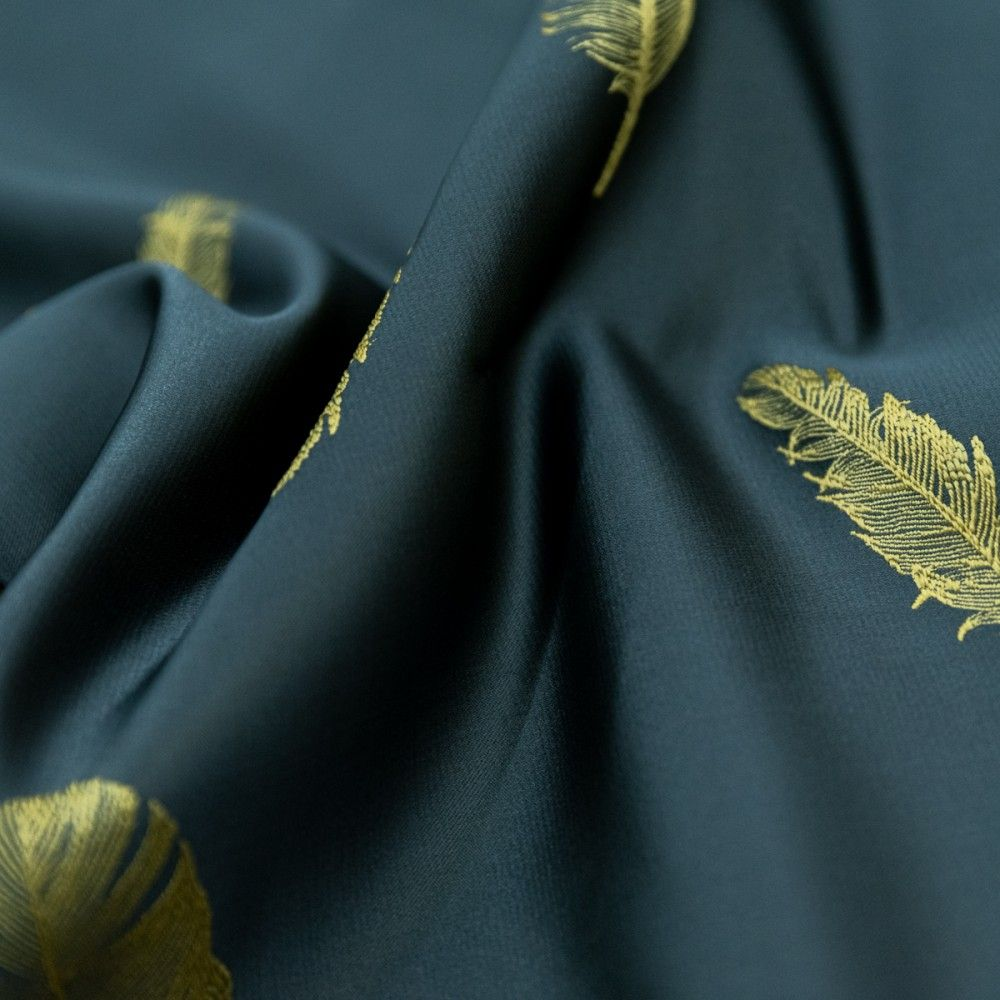 Draperie Pana, tafta, motive brodate 2 fete, albastru verzui-auriu