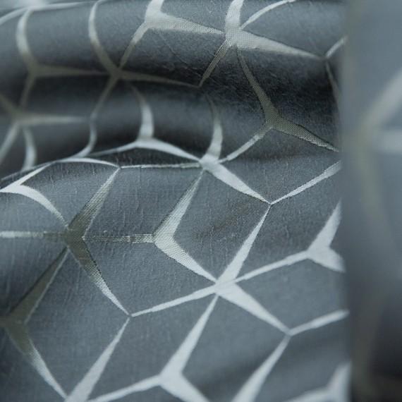 Draperie Mercedes, tafta, 2 fete, model geometric, gri-argintiu